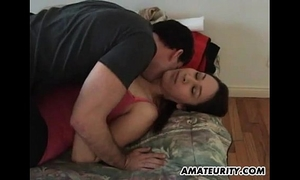 Amateur girlfriend with large love muffins sucks and copulates