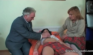 Nasty wench receives enticed by aged pair