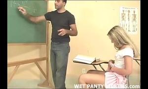Hot teacher makes this schoolgirls pants juicy