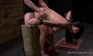 Dark haired oriental sweetheart shackled and drilled
