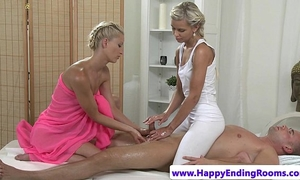 Hot masseuse lesbos in three-some tugging client