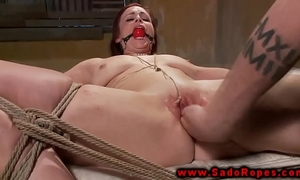 Bdsm ginger vibrator and finger experience during her session