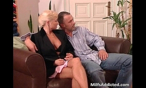 Two excited milf blondes receives slit