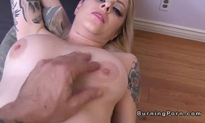 Shaved tattooed golden-haired nicole malice receives facial pov