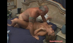 Cuckold sexually excited honey drilled by old rich stud