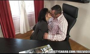 Fit dark brown milf sucks and copulates her boss at work