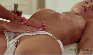 Busty dark brown and her masseur fingering