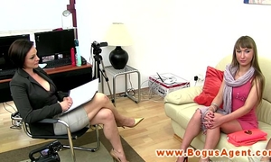Casting with breasty lengthy haired blond