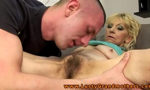 Amateur aged granny receives love tunnel licked
