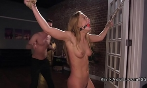 Bound girlfriend flogged and anal screwed