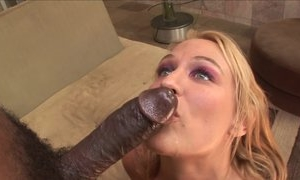 Blonde mama does blowjob and then is fucked in doggy style position by big black cock of black man