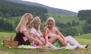 Nice first lesbian experience between three teen girls having tons of fun together outdoor at picnic, licking pussies, using sex toys, moaning from pleasure